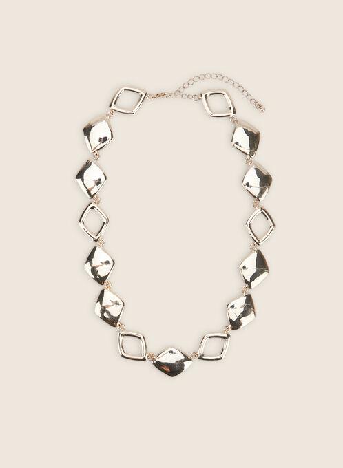 Metallic Rhinestone Embellished Necklace, Gold