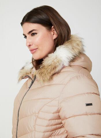 Novelti - Manteau matelassé à capuchon, Rose, hi-res,  manteau, matelassé, manches longues, capuchon, fausse fourrure, végane, glow, automne hiver 2019