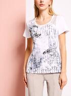 T-shirt imprimé avec matière ajourée, Blanc, hi-res