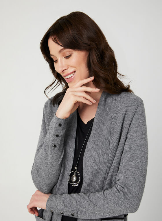 Open Front Knit Cardigan, Grey