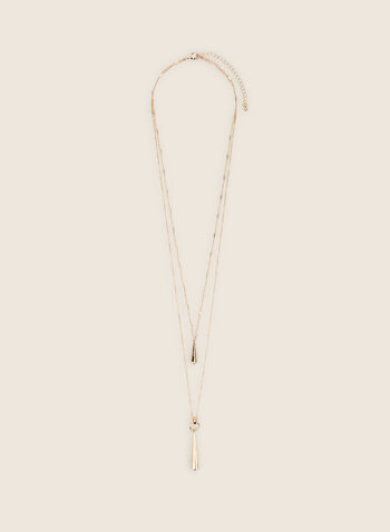 Thin Double Chain Necklace, Gold,  necklace, metallic, metallic necklace, pendant, spring 2020, summer 2020