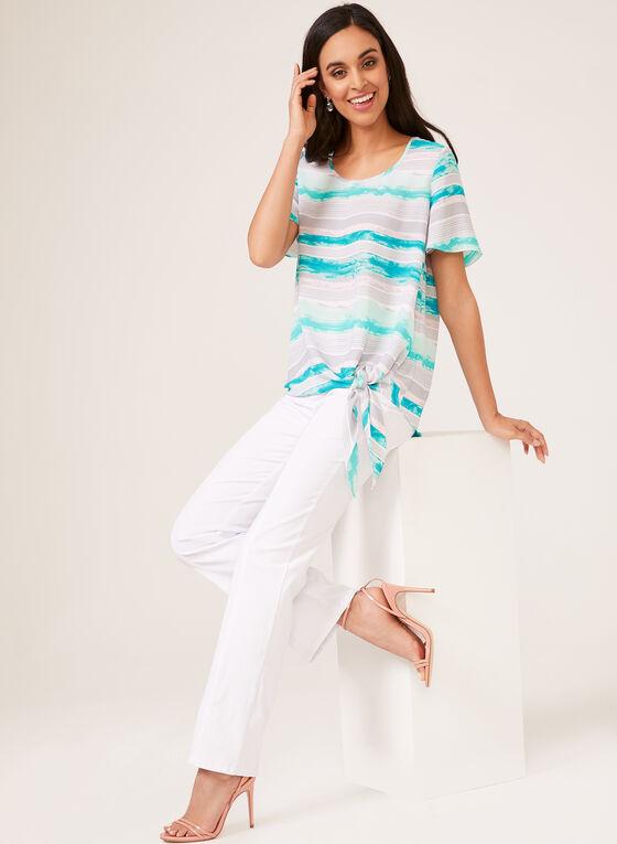 Stripe Print Short Sleeve Blouse, Blue, hi-res