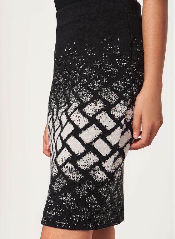 Geometric Print Knit Pencil Skirt, Black, hi-res