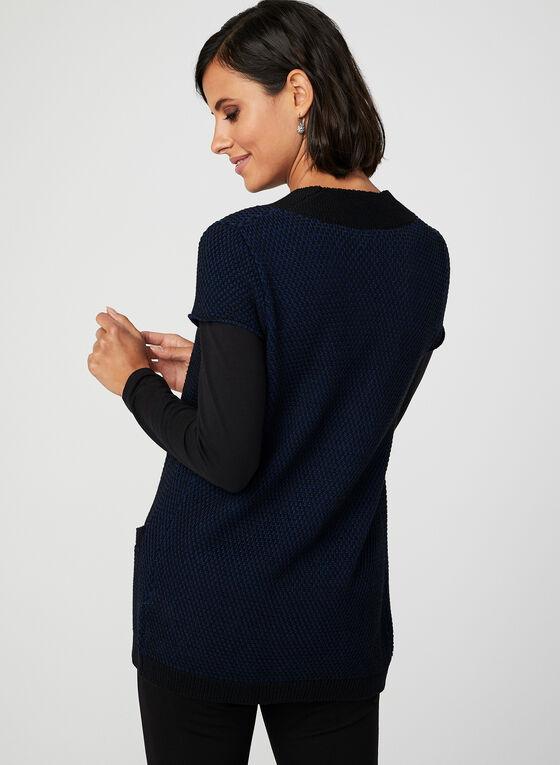 Cardigan ouvert en tricot bicolore, Noir, hi-res