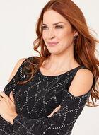 Sequin Embellished Cold Shoulder Dress, Silver, hi-res