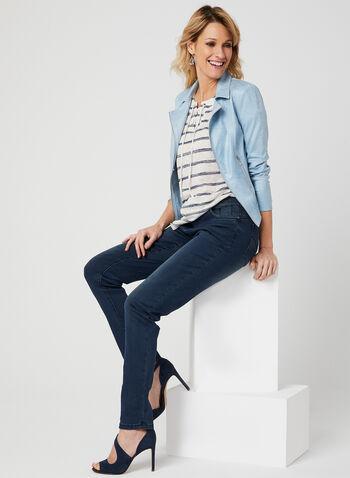 Lace-Up Stripe Print T-Shirt, Blue, hi-res