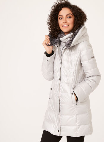 Novelti - Faux Fur Trim Coat , Silver, hi-res