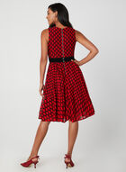 Fit & Flare Dress With Belt, Red, hi-res