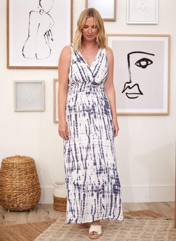Sandra Darren - Abstract Print Maxi Dress, Blue,  dress, abstract, tie-dye, smocked, jersey, sleeveless, v-neck, spring summer 2020