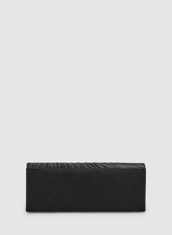 Crystal Detail Satin Clutch, Black, hi-res