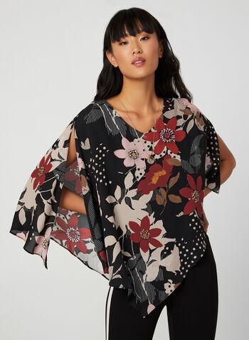 Floral Print Asymmetric Blouse, Black,  blouse, top, poncho, floral print, flower print, print, asymmetric, v-neck, slit, fall 2019, winter 2019
