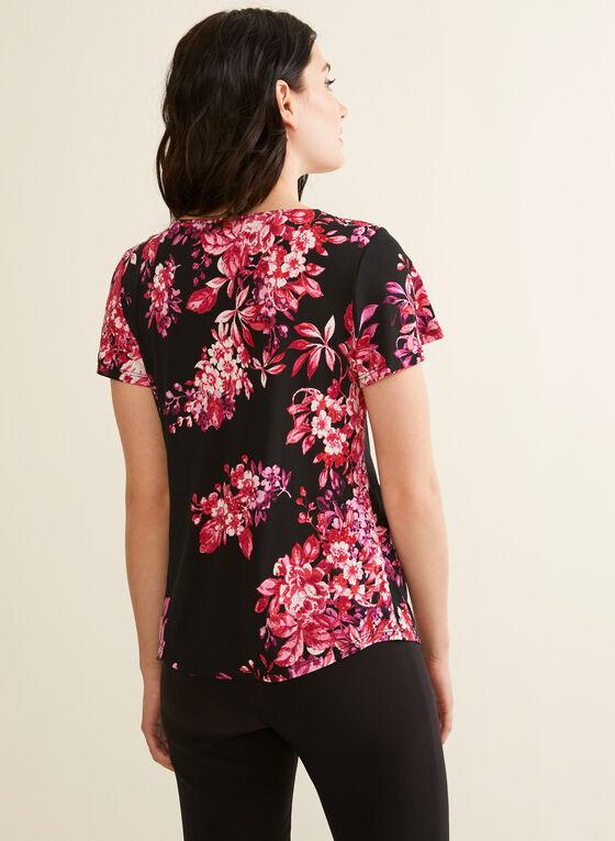 Haut floral à détail nœud, Noir