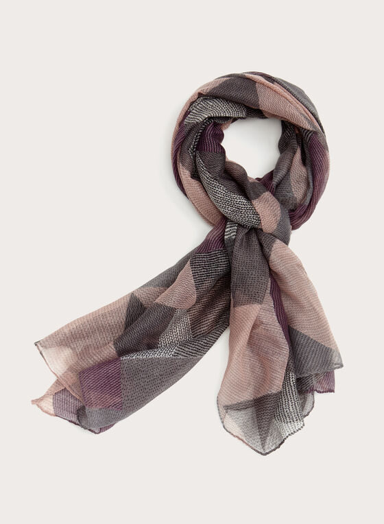Patchwork Print Scarf, Grey, hi-res