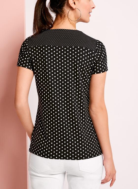 Lace Trim Dot Print T-Shirt, Blue, hi-res