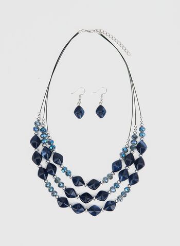 Necklace & Earrings Set , Blue,  short necklace,necklace, bead necklace, beads, earrings, dangle earrings, fall 2019,winter 2019