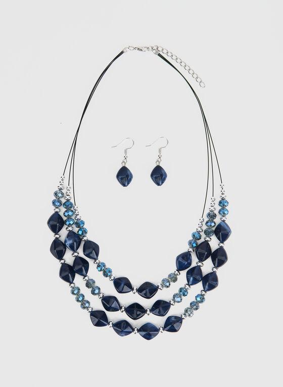 Collier court à trois rangées de pierres, Bleu