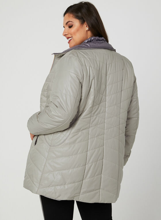 Marcona - Quilted Faux Down Coat, Brown, hi-res