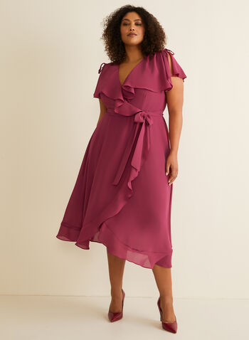 Short Sleeve Ruffle Detail Dress, Red,  day dress, ruffles, flounce, short sleeves, chiffon, surplice, ribbon, wrap, spring summer 2020
