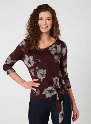 Floral Print Top, Red, hi-res,  Canada, knit, 3/4 sleeves, floral, fall 2019, winter 2019