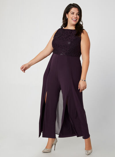 Jumpsuit With Lace & Sequins