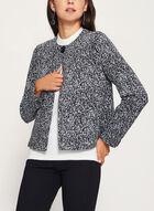 Veste tricotée à un bouton et motif abstrait, Noir, hi-res