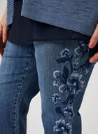 Capri coupe signature à broderies florales, Bleu, hi-res