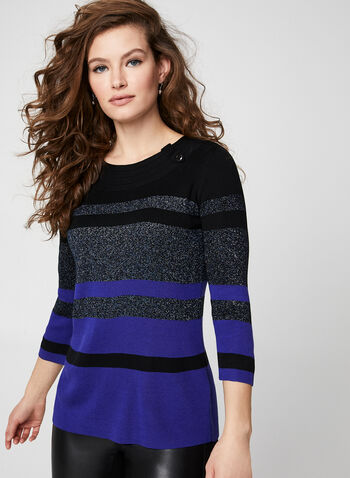 Lurex Stripe Print Sweater, Black,  sweater, 3/4 sleeves, stripes, stripe top, metallic, metallic top, glitter, glitter top, glitter sweater, metallic sweater, holiday sweater, fall 2019, winter 2019