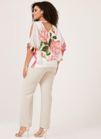 Frank Lyman - Floral Print Poncho Blouse, White, hi-res