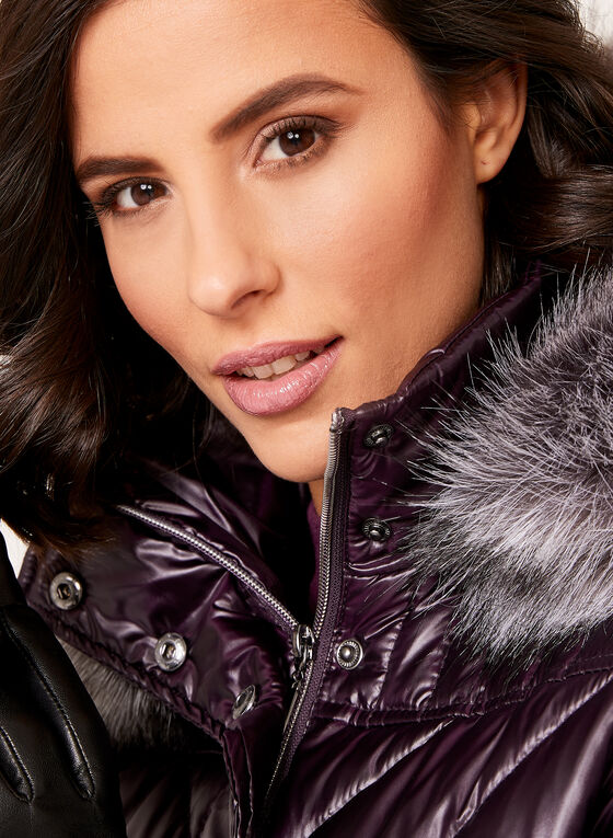Faux Fur Hooded Quilted Down Coat , Purple, hi-res