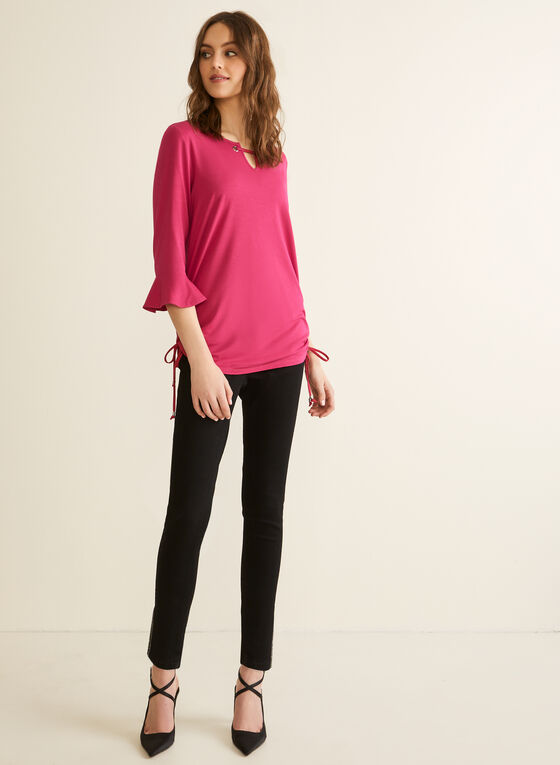 Elbow Sleeve Eyelet Detail T-Shirt, Purple