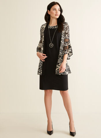 Textured Jacket & Dress Set, Black,  set, ensemble, dress, jacket, textured, motif, mesh, jersey, ruffled sleeves, 3/4 sleeves, integrated necklace, spring summer 2020