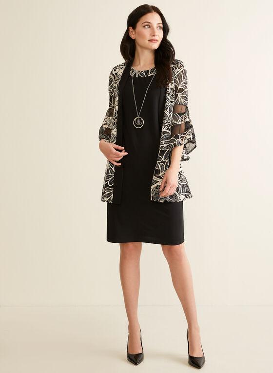 Robe à collier intégré et veste, Noir