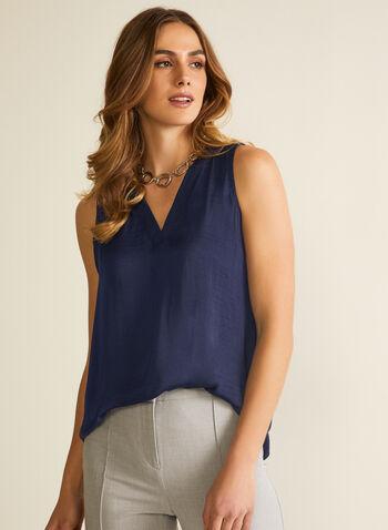 Sleeveless V-Neck Blouse, Blue,  blouse, sleeveless, v-neck, high low, spring summer 2020
