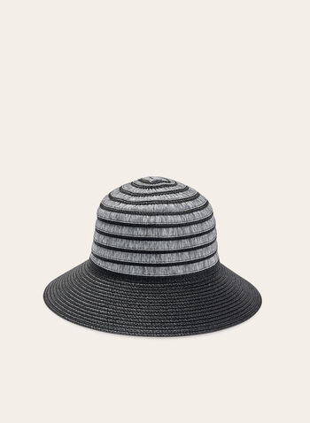 Two Tone Cloche Straw Hat , Black, hi-res