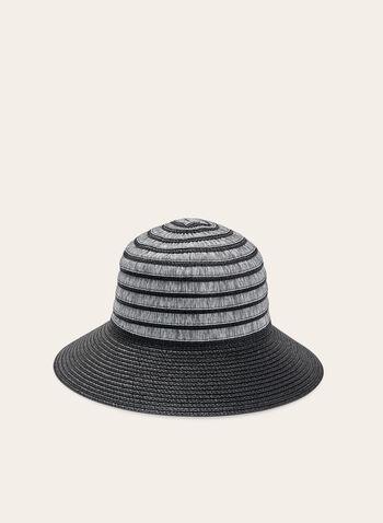 Chapeau cloche en paille bi-ton, Noir, hi-res