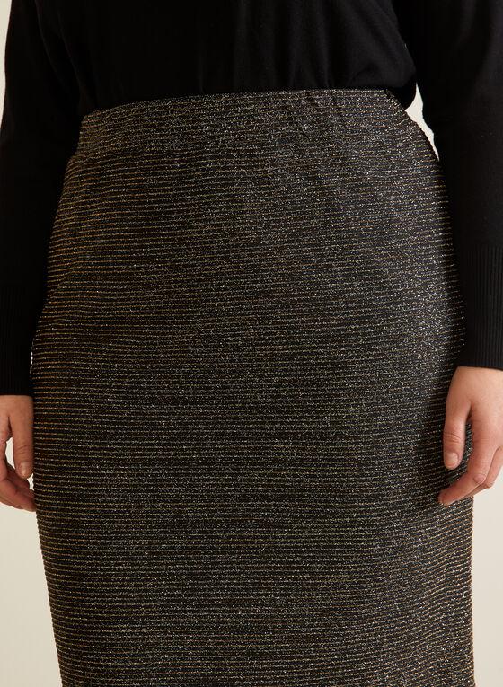 Jupe crayon scintillante à taille élastique, Noir