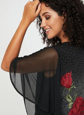 Blouse en maille à motif pois et fleurs, Rouge, hi-res
