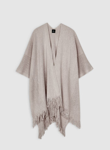 Echo New York - Fringed Pointelle Poncho, Off White,  fall winter 2019, knit, fringed hem, pointelle knit, pashmina, ruana
