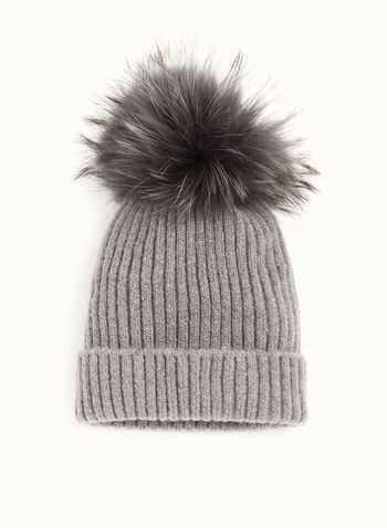 Fur Pompom Knit Hat, Grey, hi-res