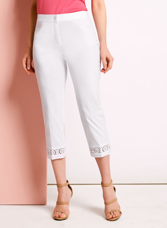 Signature Fit Crochet Trim Capris, White, hi-res