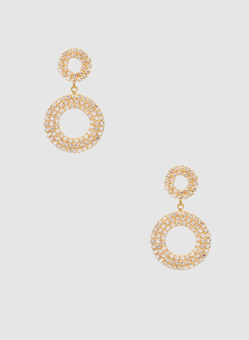Crystal Encrusted Hoop Earrings, Gold, hi-res,  evening jewellery