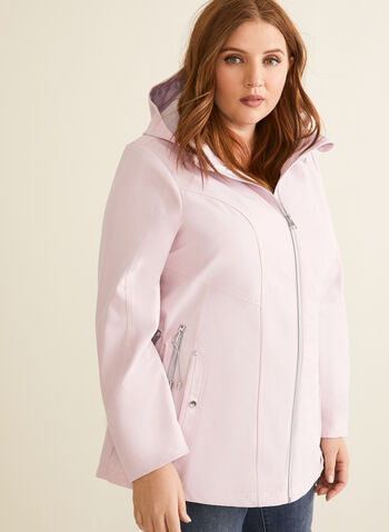 Removable Hood Raincoat, Pink,  coat, raincoat, hood, zipper, pockets, spring summer 2020