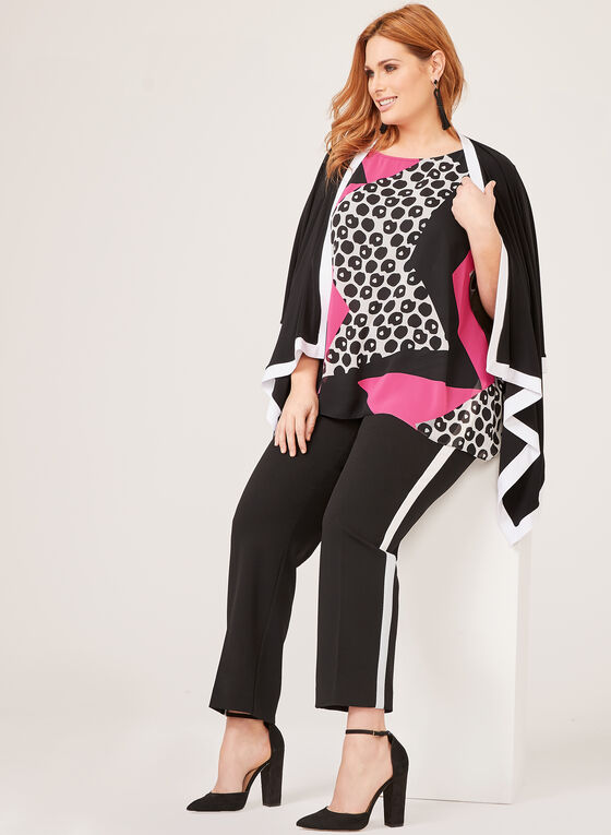 Frank Lyman – Graphic Poncho Blouse, Black, hi-res
