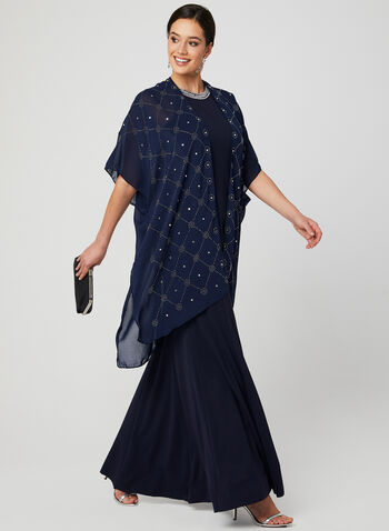 Embellished Open Front Poncho, Blue, hi-res