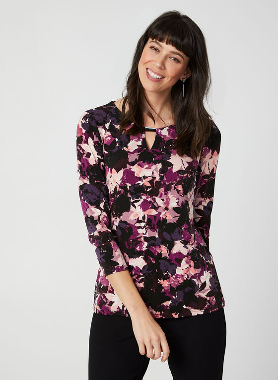 Floral Print Top, Purple