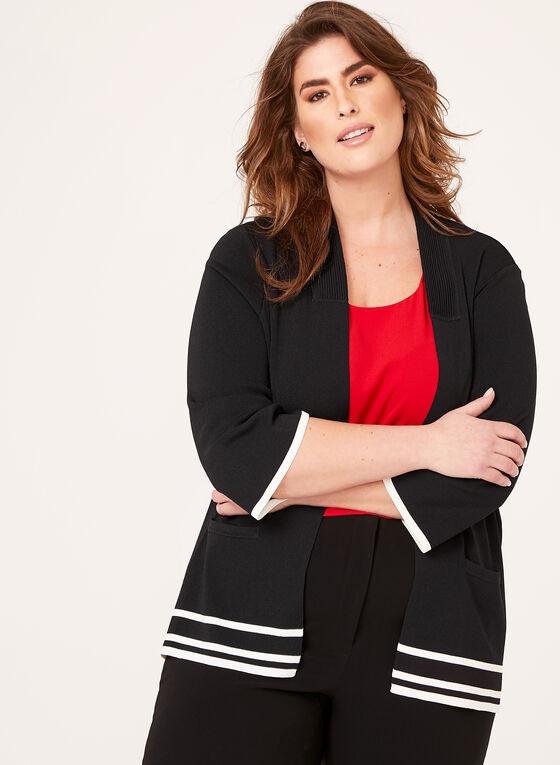 Cardigan côtelé à rayures contrastantes, Noir, hi-res