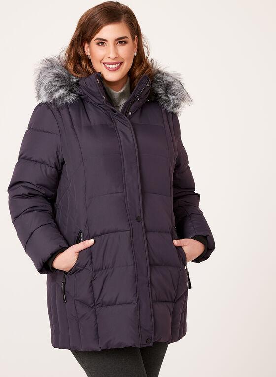 Novelti - Fur Trim Down Coat, Purple, hi-res