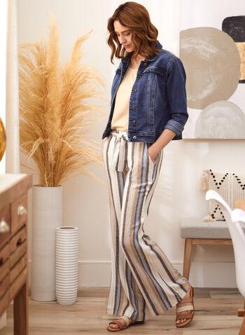 Charlie B - Pantalon en lin à rayures verticales, Multi,  pantalon, charlie b, à enfiler, taille élastique, jambe droite, ceinture à nouer, poches, motif, rayures verticales, lin, printemps été 2021