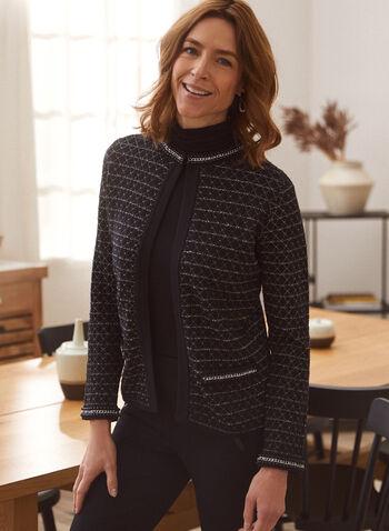 Cardigan ouvert à détails métallisés, Noir,  automne hiver 2020, cardigan, ouvert, manches longues, métallisés, Chanel, métallique, brillant, tricot
