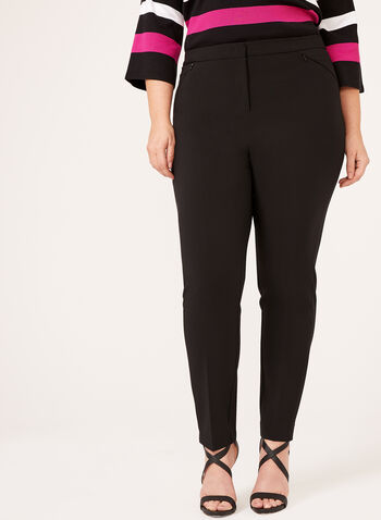 Modern Fit Slim Leg Twill Pants, Black, hi-res